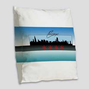 Chicago Skyline Burlap Throw Pillow