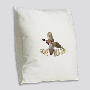 Gone Hunting Burlap Throw Pillow