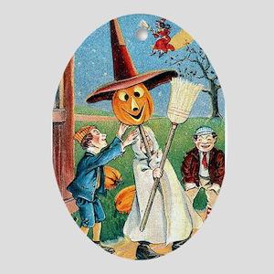 Jack-O-Lantern Witch Oval Ornament