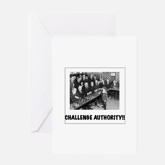 challenge authority polaroid Greeting Cards