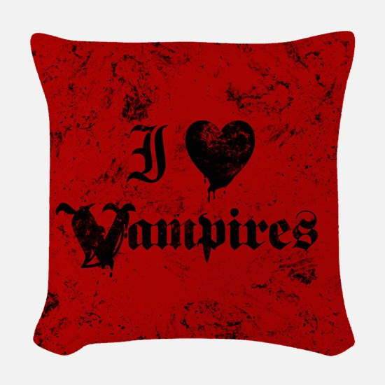 I Love Vampires Woven Throw Pillow