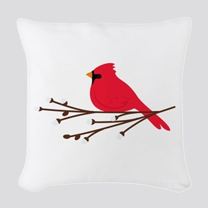 Cardinal Bird Branch Woven Throw Pillow