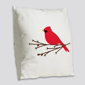 Cardinal Bird Branch Burlap Throw Pillow