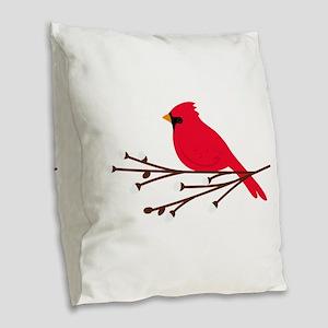 Cardinal Bird Branch Burlap Throw Pillow