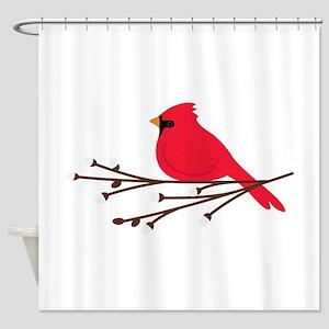 Cardinal Bird Branch Shower Curtain