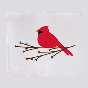 Cardinal Bird Branch Throw Blanket