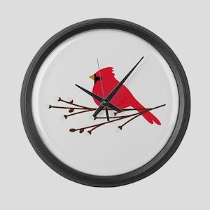 Cardinal Bird Branch Large Wall Clock