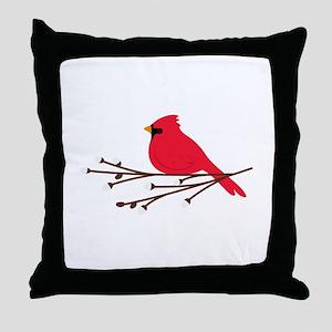 Cardinal Bird Branch Throw Pillow