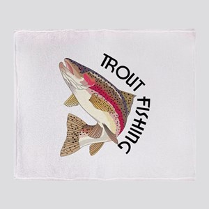 Trout Fishing Throw Blanket