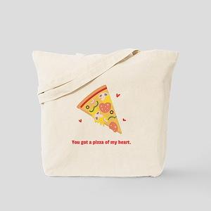 Yummy Pizza Heart Pun Humor Tote Bag