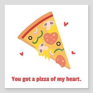 "Yummy Pizza Heart Pun Humor Square Car Magnet 3"" x"