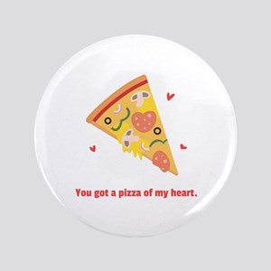 "Yummy Pizza Heart Pun Humor 3.5"" Button"