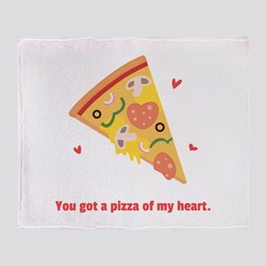 Yummy Pizza Heart Pun Humor Throw Blanket