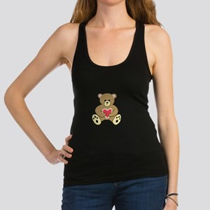 TEDDY BEAR WITH HEART Racerback Tank Top
