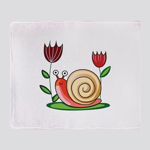 SNAIL AND FLOWERS Throw Blanket