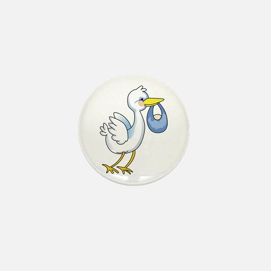 STORK WITH BABY BOY Mini Button