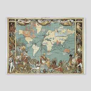 British Empire map 1886 5'x7'Area Rug