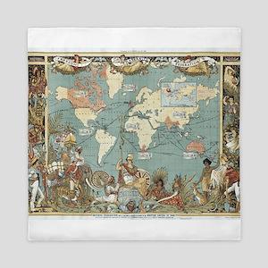 British Empire map 1886 Queen Duvet