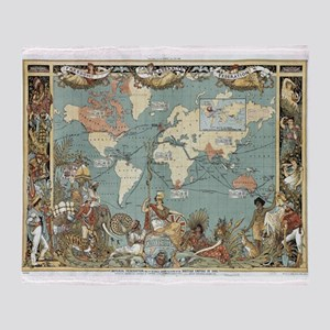 British Empire map 1886 Throw Blanket