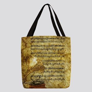 Antique Gramophone and Notes Polyester Tote Bag