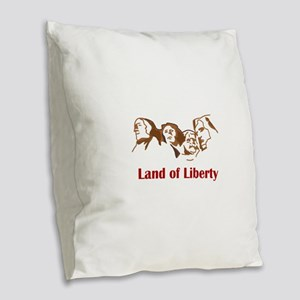 LAND OF LIBERTY Burlap Throw Pillow