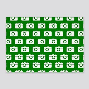 Green and White Camera Illustration 5'x7'Area Rug