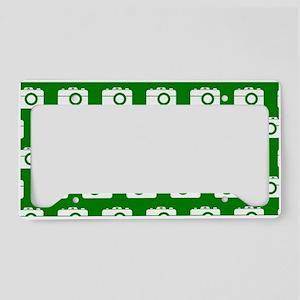 Green and White Camera Illust License Plate Holder