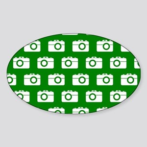 Green and White Camera Illustration Sticker (Oval)