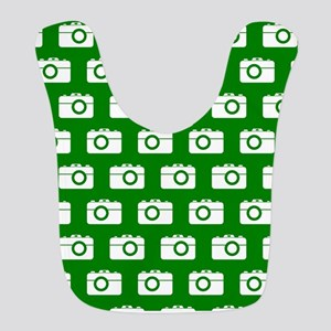 Green and White Camera Illustration Pattern Bib