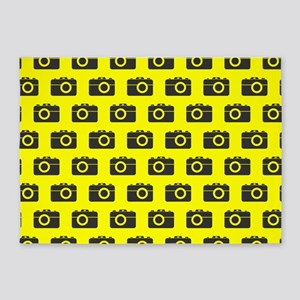 Yellow and Gray Camera Illustration 5'x7'Area Rug