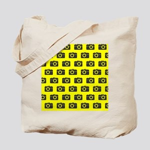 Yellow and Gray Camera Illustration Patte Tote Bag