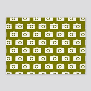 Oilve Green Camera Illustration Pat 5'x7'Area Rug