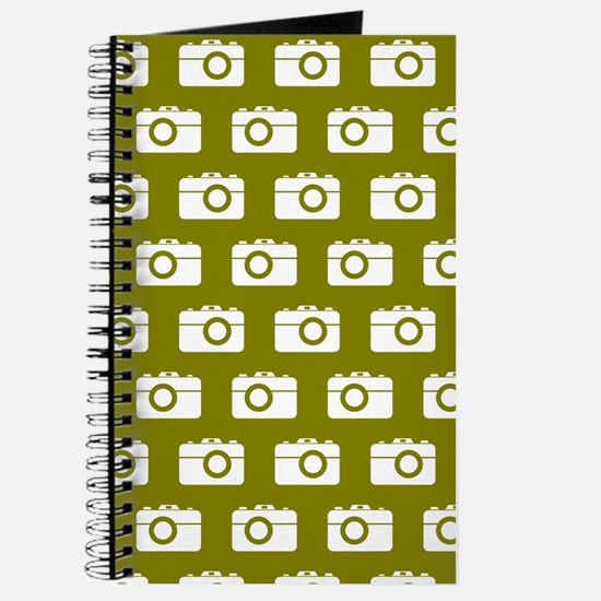 Oilve Green Camera Illustration Pattern Journal