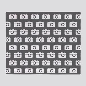 Gray and White Camera Illustration P Throw Blanket