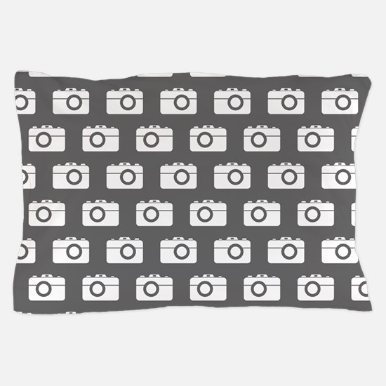 Gray and White Camera Illustration Pat Pillow Case