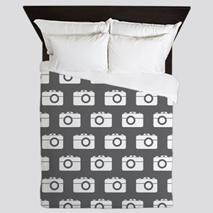 Gray and White Camera Illustration Pat Queen Duvet