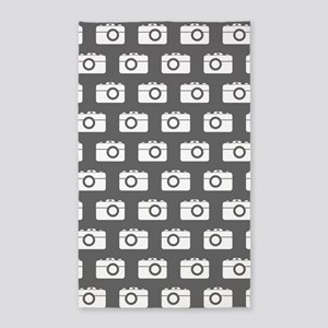 Gray and White Camera Illustration Patter Area Rug