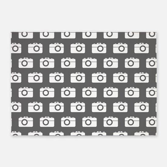 Gray and White Camera Illustration 5'x7'Area Rug
