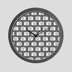 Gray and White Camera Illustration Patt Wall Clock