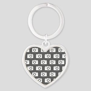 Gray and White Camera Illustration Heart Keychain