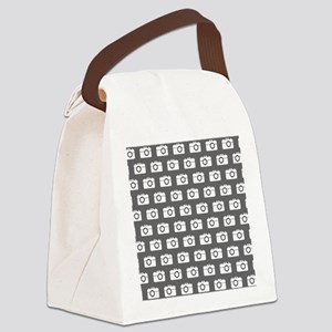 Gray and White Camera Illustratio Canvas Lunch Bag