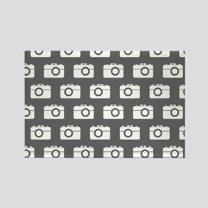 Gray and White Camera Illustratio Rectangle Magnet
