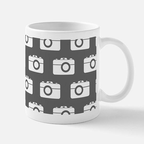 Gray and White Camera Illustration Patt Mug