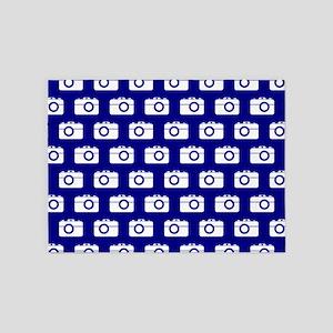 Blue and White Camera Illustration 5'x7'Area Rug
