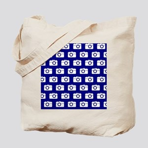 Blue and White Camera Illustration Patter Tote Bag