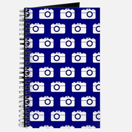 Blue and White Camera Illustration Pattern Journal
