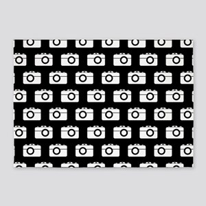 Black and White Camera Illustration 5'x7'Area Rug