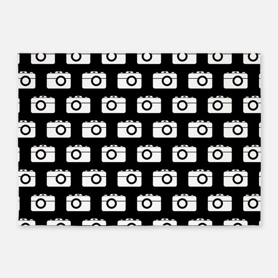 Black and White Camera Illustration 5'x7'Area Rug