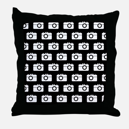 Black and White Camera Illustration P Throw Pillow