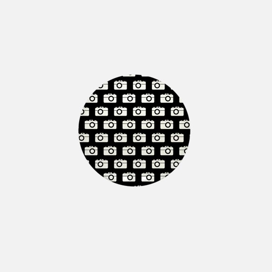 Black and White Camera Illustration Pa Mini Button